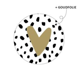 Sticker - rond wit | dots met goud hartje | 10 stk