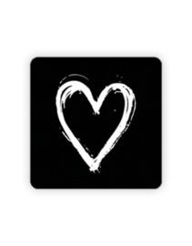 Sticker - vierkant zwart - wit painted hart | 35mm | 10 stk