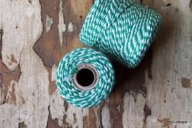 Bakkerstouw / groen - wit touw /klos  ca 50m
