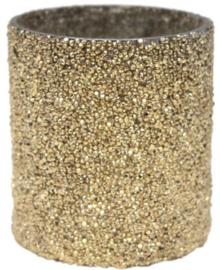 Waxinelichthouder crystal mozaïek gold