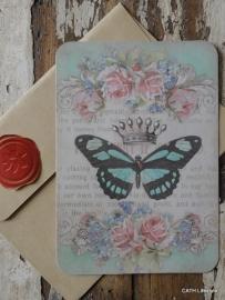 Kaart met envelop /  Vintage vlinder / CE