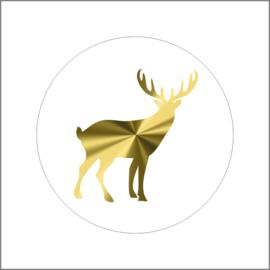 Sticker sluitzegel rendier goud - 20 stk