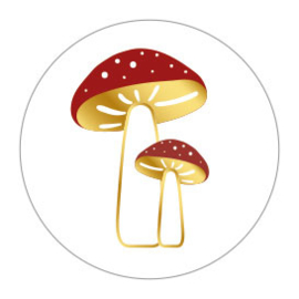 Sticker sluitzegel rond wit | paddenstoelen | 10stk