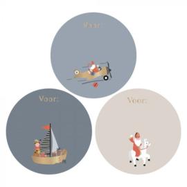 Stickers mix - Sinterklaas - voertuigen | 55mm | 12stk