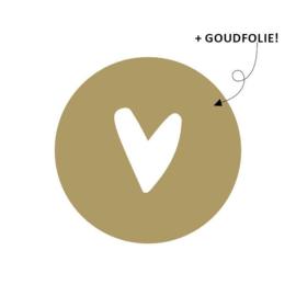 Sticker rond goud wit hartje | 40mm | 20stk