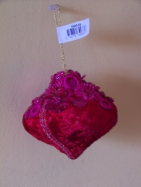 Kerst Hanger roze velours 2