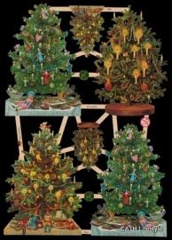 ME 7390 Poezie plaatjes 6 kerstbomen