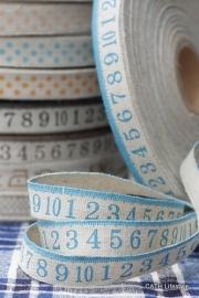 YO Katoen linnen band met blauwe cijfers