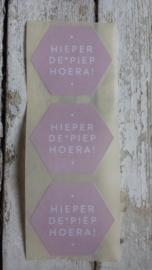 Stickers / Hieperde Piep Hoera roze / 10 stks