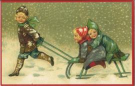 Kerstkaart   kinderen op slee in de sneeuw - nostalgisch