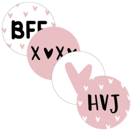 Stickers sluitzegel mix - BFF vriendin | 40mm | 20stk
