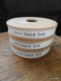 Twill katoen band / Sweet baby Boy / op 3 meter spoel / CI