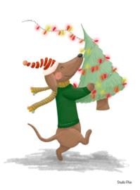 Kaart - teckel met kerstboom