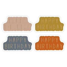 Sticker sluitzegel Happy Birtday - faded | 4kleuren | 16stk