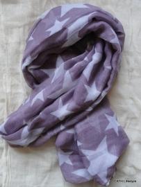 Sjaal | aubergine met grote sterren