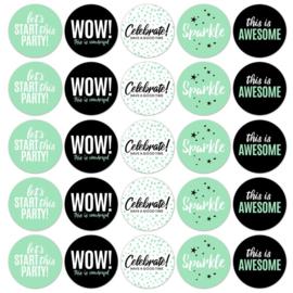 Sticker mix - rond Party WOW   50mm   10stk