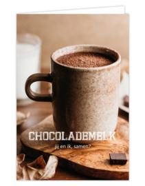 Wenskaart met kraft envelop | Chocolademelk jij en ik, samen?