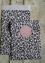 Zakjes / leopard zwartwit / 12x19cm / 5stk