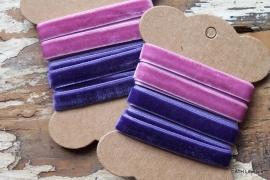 Veloursband op Garenkaart / Roze-Paars