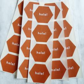 Stickers  Hola - terracotta - 10 stks