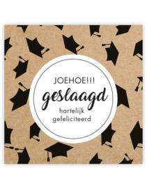 Cadeau kaartje /label - Joehoe geslaagd