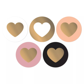 Stickers sluitzegel rond mix beauty hart goud | 10stk