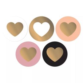 Stickers sluitzegel rond mix beauty hart goud | 10stk