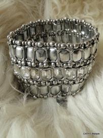 BIBA Armband / zilverkleurig rechthoekige steentjes