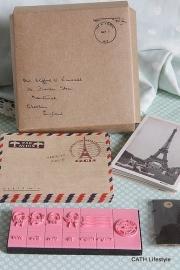 Set in kraft envelop stempels / envelopjes / kaarten