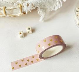 Masking tape | roze hartjes goudfolie