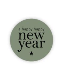 Sticker rond green - a happy new year | 35mm | 10stk