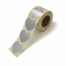 Sticker / hart zilver / 10 stk / 5cm