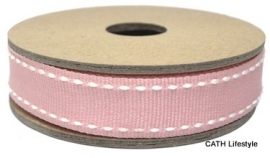 EI 3156 Band 3 meter spoel roze met wit stiksel