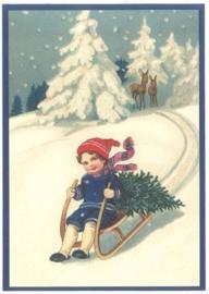 Kerstkaart - Jongen op slee met kerstboom   Glitter   nostalgisch