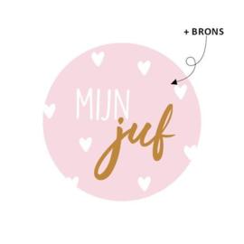 Sticker rond roze - Mijn juf | 40mm | 10stk