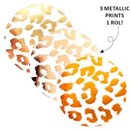 Sticker sluitzegel rond/goudfolie - cheetah | 40mm | 12stk