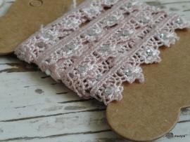 Garenkaart |  Kant roze met strass  | 1 meter