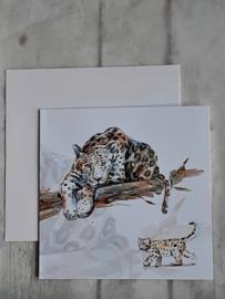 Dubbele kaart - Luipaard met jond