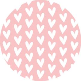 Sticker | roze witte hartjes - 10stuk