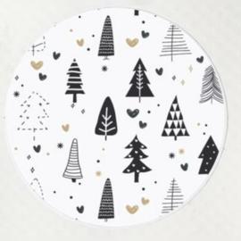 Sticker sluitzegel zwart wit kerstbomen | 10 stk