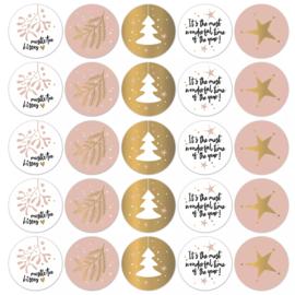 Stickers sluitzegels - kerstprints - warm   10stk