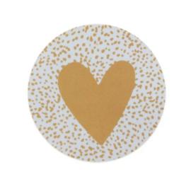 Sticker  - sluitzegels | hart - okergeel dots | 5cm | 10stuks