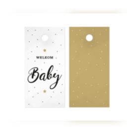 Kado label - kaartje / welkom baby  - zwart-wit  / 5stk