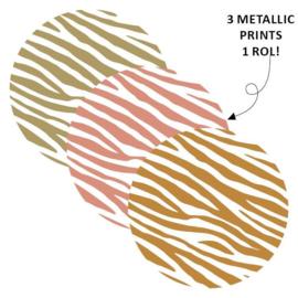 Sticker sluitzegel rond/goudfolie - zebra | 40mm | 12stk