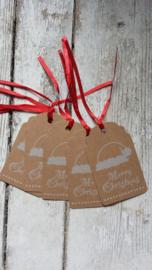 Kraft labels met rood lint / Merry Christmas / 15 stks