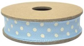 EI 3068 Band 3 meter spoel licht blauw met creme stippen