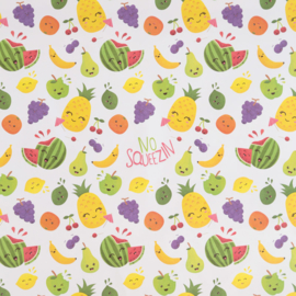 Kadopapier / fruitgezichtjes