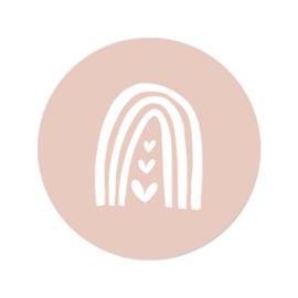 Sticker roze - regenboog hartjes | 45mm | 10stk
