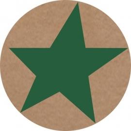 Sticker ster - kraft / donker groen / 20stk