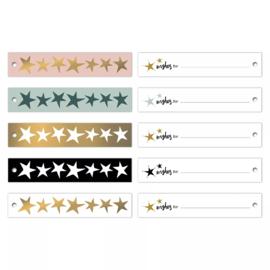 Label - Christmas ribbon sterren | 5stk